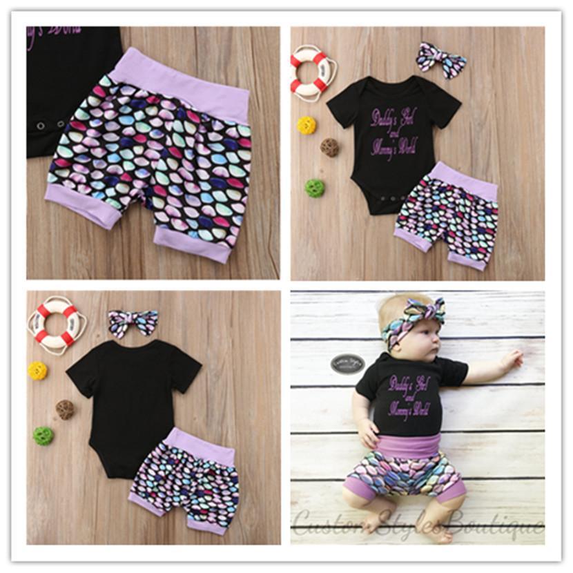 2020 Sommer Kinder Strampler Anzug Baby Mädchen Kurze Ärmel T-Shirt Overalls Strampler Fischwaage Shorts Haarband 3 Stück Kleidung Set E21904