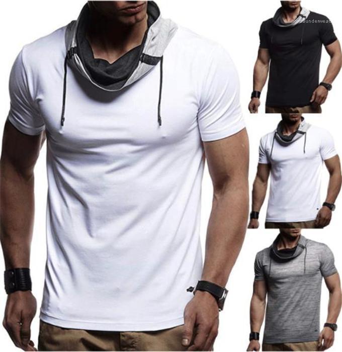 Yaz Nedensel Erkek Sıcak Skinny Spor Erkek Baz Gömlek Yuvarlak Yaka Kısa Kollu Spor Tees Tops