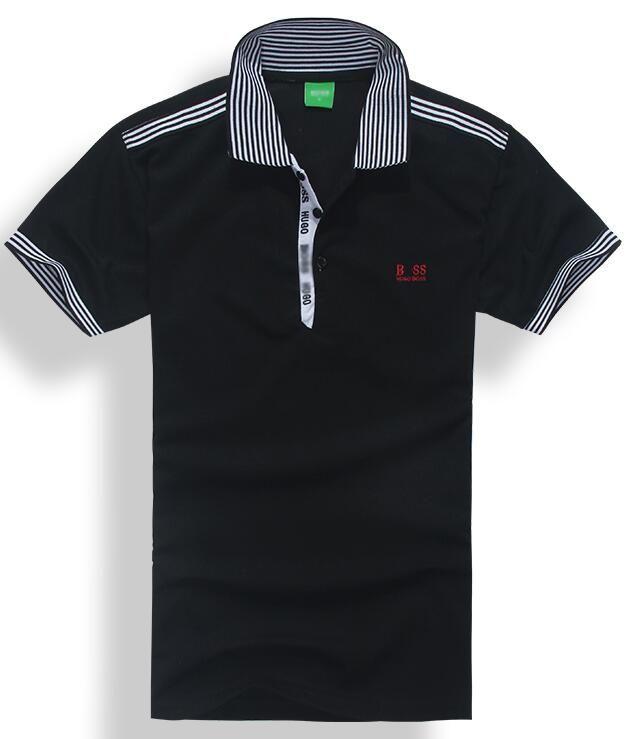 2019 럭셔리 높은 품질의 브랜드 boossss 여름 뜨거운 판매 폴로 옷깃 폴로 코 튼 셔츠 남자 짧은 소매 스포츠 폴로 스트라이프 남자 티셔츠 폴로