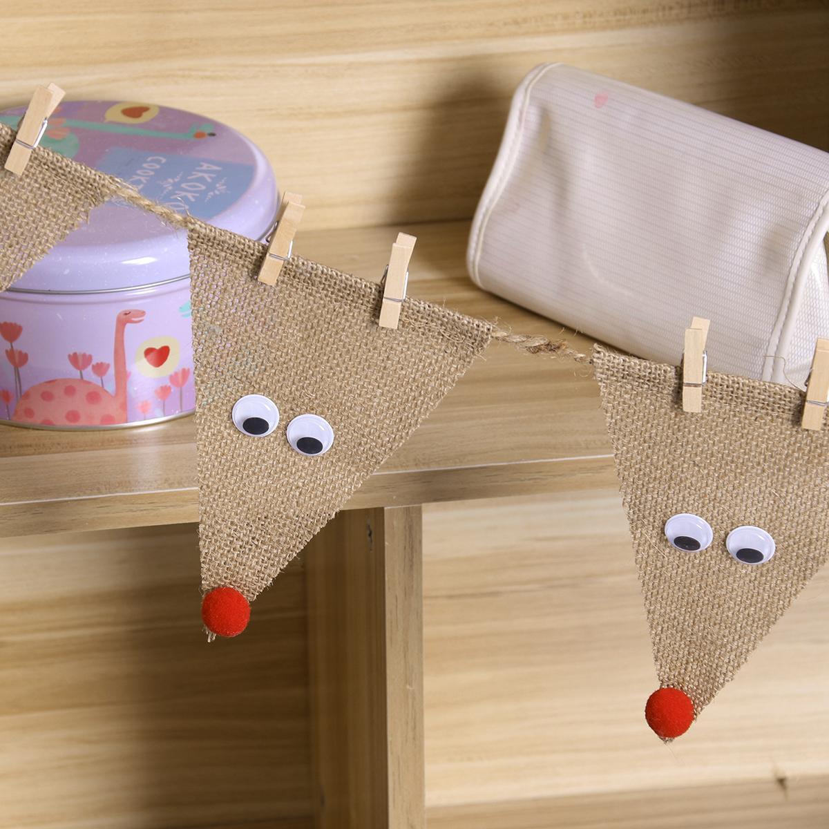 Burlap Banner Dreieck Flagge DIY Dekoration für Urlaub, Hochzeit, Camping, Party und jede Gelegenheit (Elk)