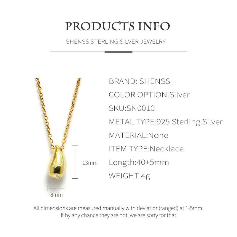 Silver 925 Jewelry Fashion simple water drop necklace 925 sterling silver necklace for women gold 18K