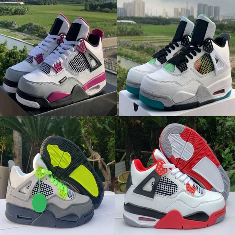 2020 Scarpe Rasta Parigi 4 Jumpman 4s Mens Basketball Carnevale Lucid verde al neon rosso fuoco Cool Grey Sport Sneakers Trainers Scarpe Chaussures