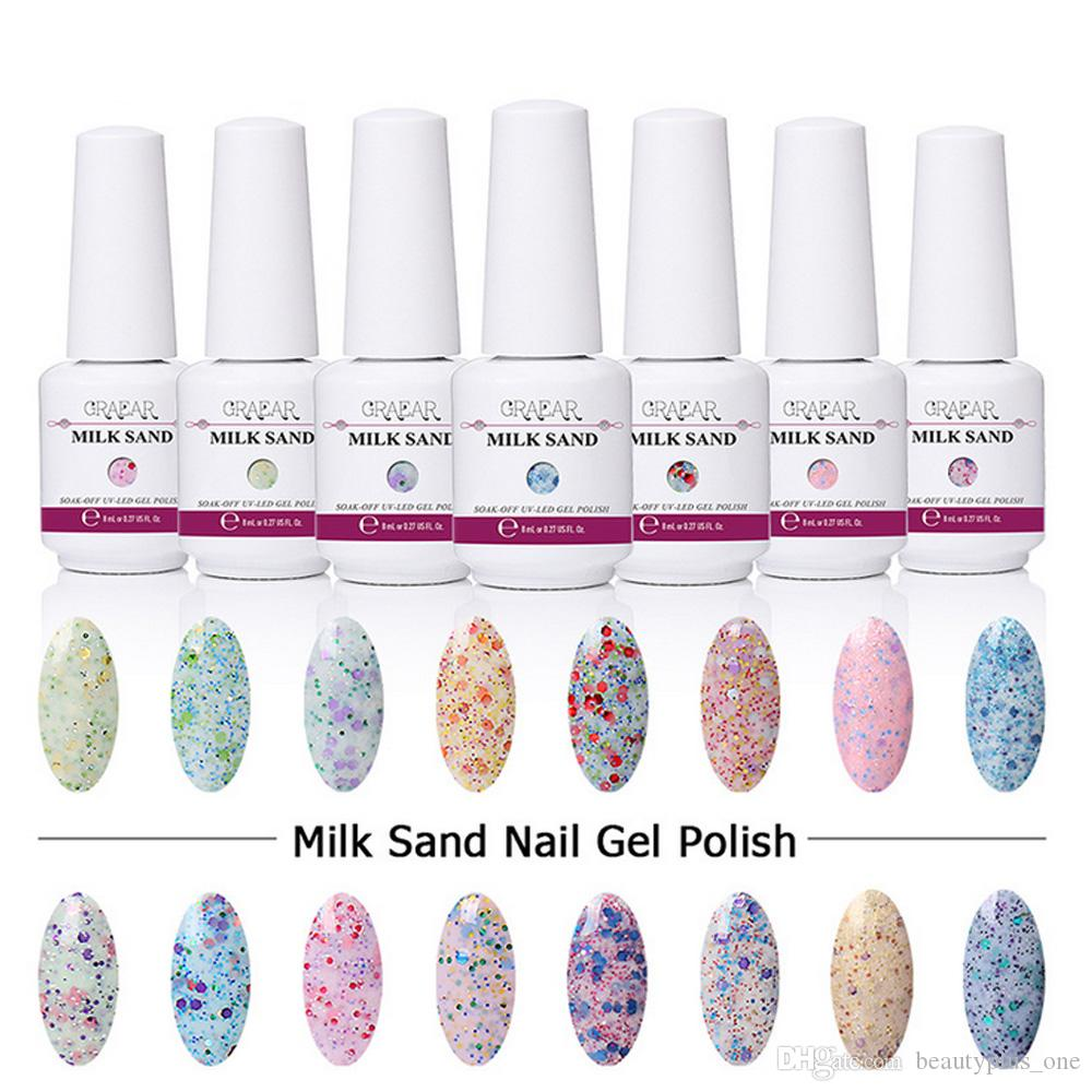 8ML Milk Sand Series Gel Set de esmalte de uñas para manicura Soak Off Nail Art Barnices de gel de larga duración Imprimante