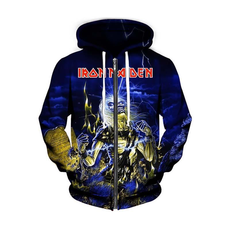 3D Zipper Hoodie Iron Maiden Zip-Up толстовка 3d печати Прохладной куртки Женщина Мужчины Топы с капюшоном Повседневной Zip фуфайки Наряды Пальто Толстовки