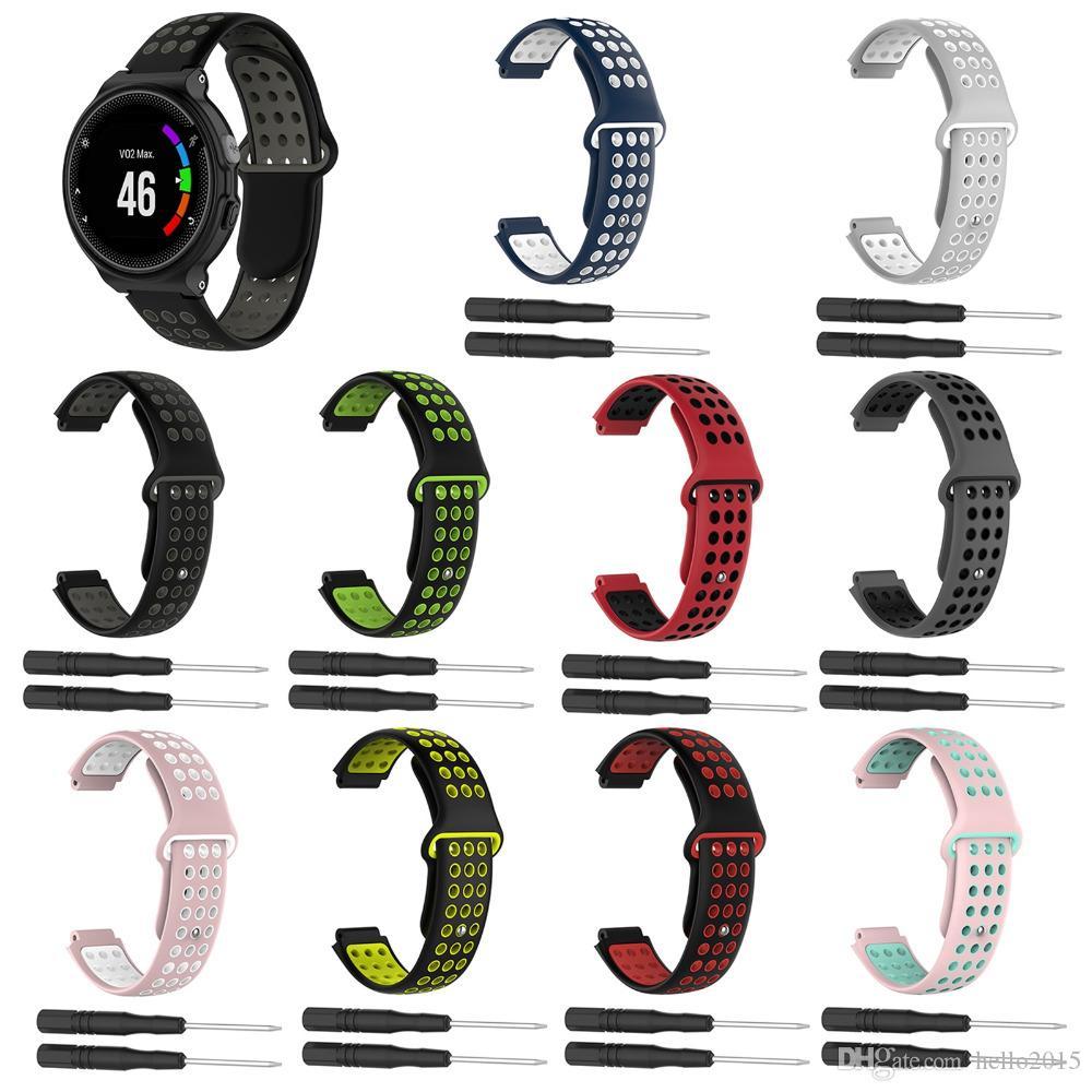 Два цвета 2 в 1 ремешок для часов Мягкие силиконовые Запасные наручные часы ремешок для браслета ремешок для Garmin Forerunner 220/230/235/620/630 Smart Watch