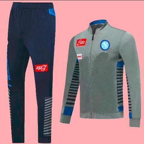 2020 Napoli синих курток Комплектов футбол Джерси 19/20 Naples Серого Футбол Tracksuit Napoli Футбол Обучение Униформа С Pant