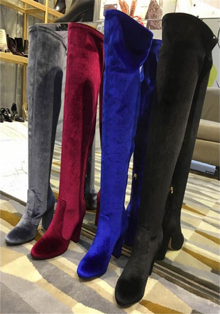 Compre Terciopelo De Lujo Sobre Las Botas De La Rodilla 10 Cm Bloque De Mujer Tacón Grueso Estiramiento Del Muslo Botas Altas Azul Elástico Botas