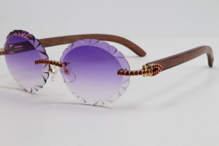 Venda Red Diamond óculos sem aro 3524012 Madeira Sun Glasses Oversized rodada Ray-Ban Aviator Óculos Blinged-Out Sunglasses Vintage