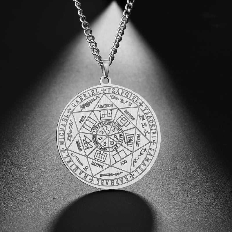 Dawapara 7 Erzengel Sigil Charm Halskette für Männer Erzengel Sigil Halskette Pentacle Magie Amulett Schutz Talisman