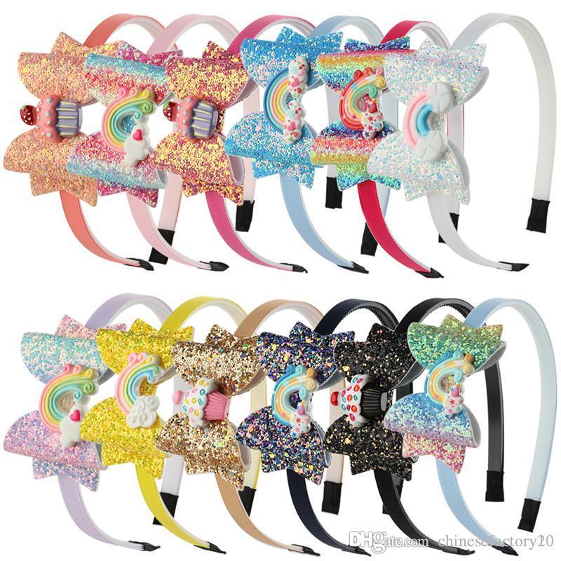 Bebek Gökkuşağı Unicorn Kafa Pullu Meyve ilmek Saç Karikatür Kız Çocuklar Parlayan Bow Baş bandı Çocuk Saç Aksesuarları Sticks