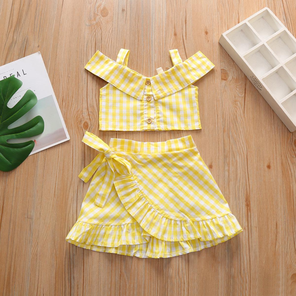 Summer girls outfits 2020 new INS baby kids stripe dew shoulder tank top +falbala skirts 2pcs children cotton princess sets A2768
