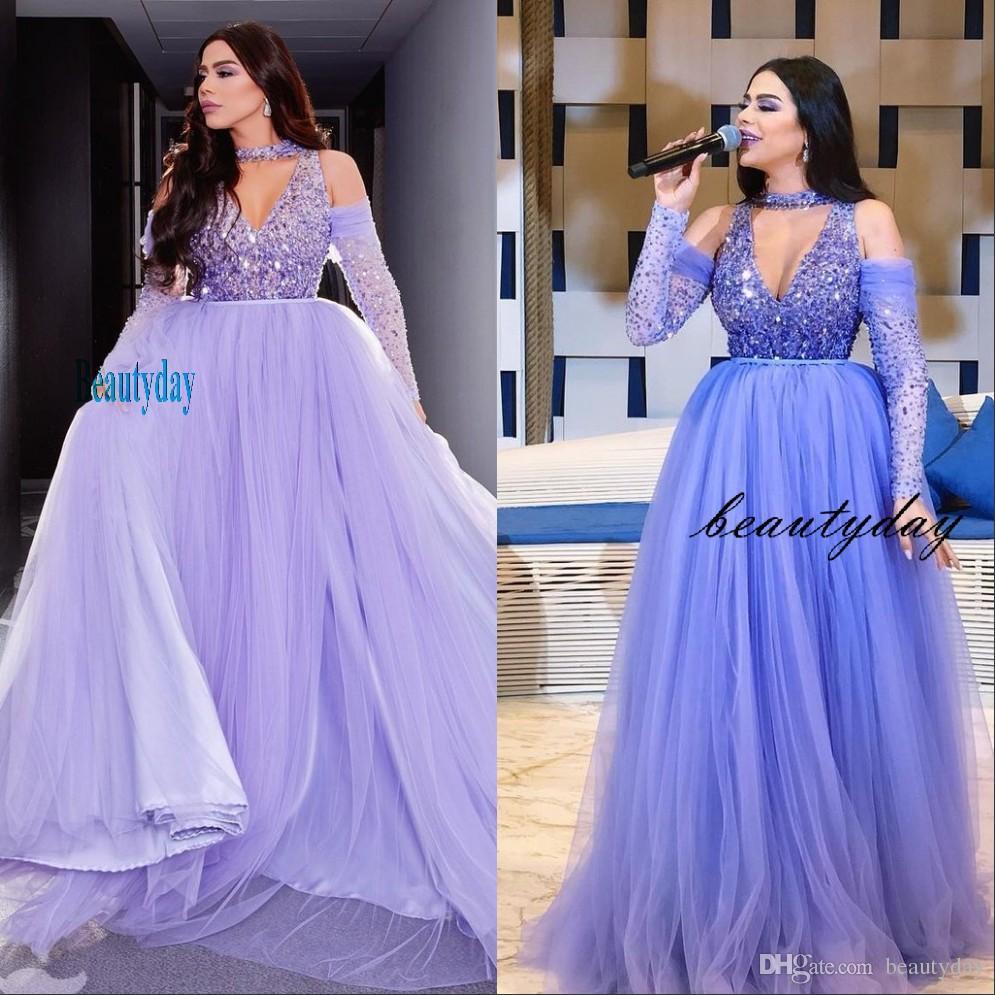 Vestidos de noche morados 2019 con Dubai Medio Oriente Vestidos formales Party Dress Dress Pleats Pliegs Pliegs Plus Tamaño Vestidos de Festa
