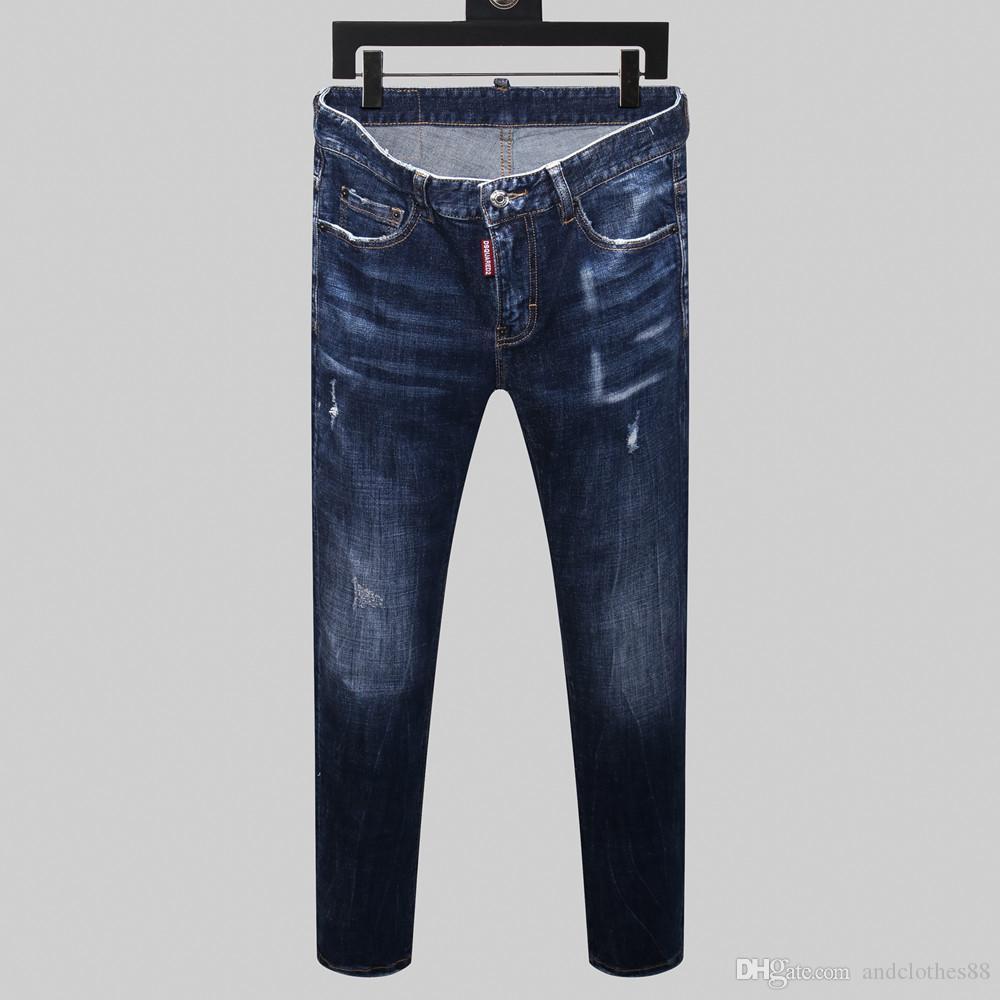 2020 Hommes Distressed Ripped Biker Jeans Slim Fit Motard Denim pour les hommes Styliste de jeans hommes Hip Hop