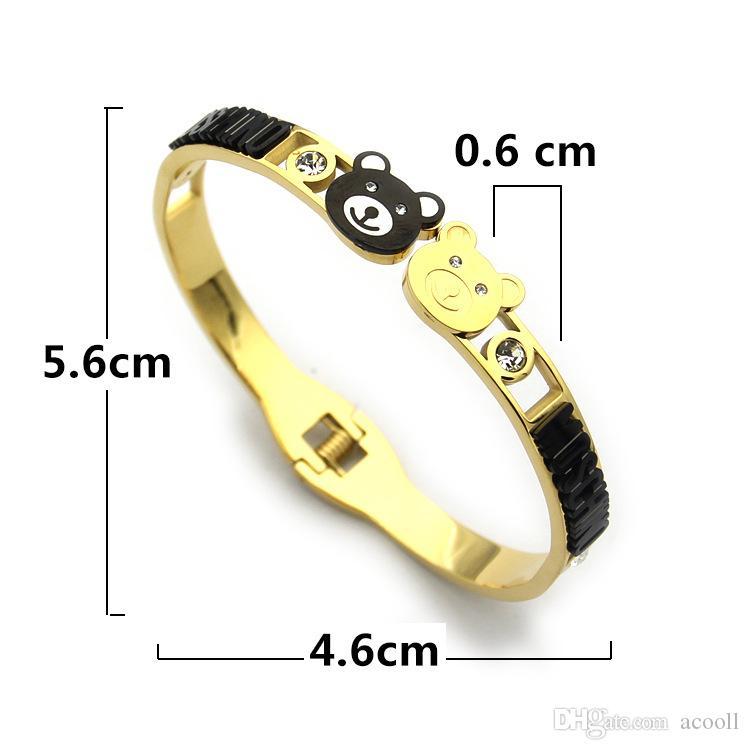 Titanium steel jewelry two bears with diamond bracelet black bear bracelet for ladies 18K gold bracelet