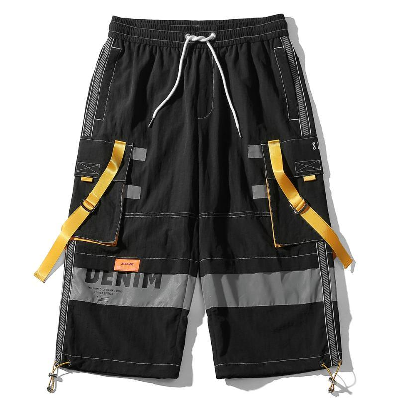 2020 estate Hip Hop casuale Cargo Shorts rappezzatura di colore Nastri Streetwear Nylon Pantaloncini Mutil Tasche Corto Jogger Pantaloni Uomo