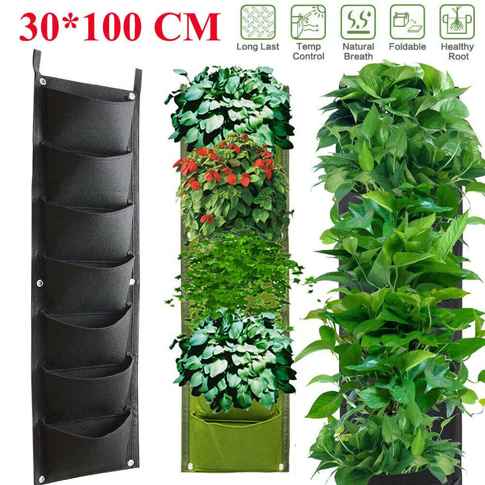 Pocket Flower Plant Pots Planter Wall Hanging Vertical Pouch Nonwoven Fabric Garden Plant Grow Container Bags 7 Pockets