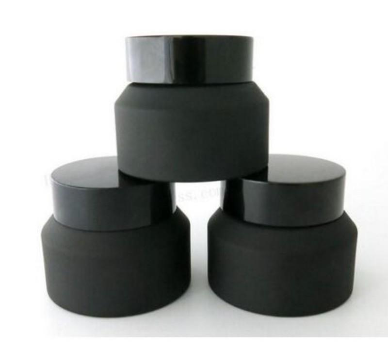 15g 30g 50g bocy en verre noir gonflé avec couvercles d'insertion de joint blanc conteneur cosmétique emballage en verre crème crème