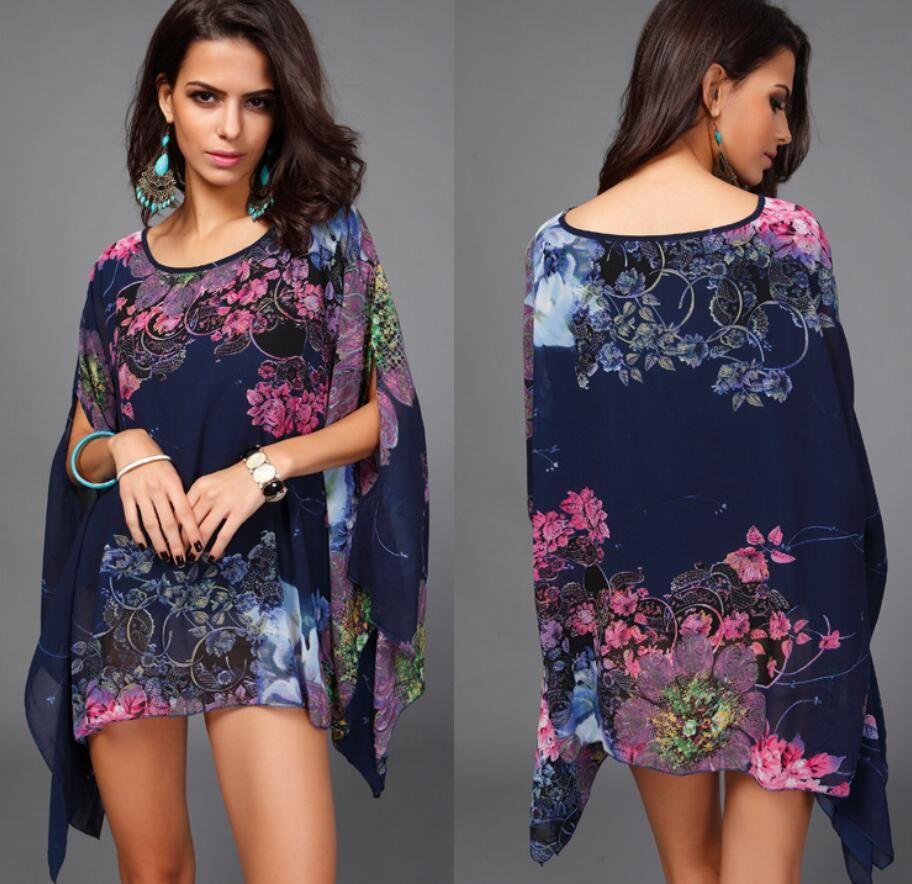 new Europe and America Big code Chiffon Bat shirt Fattening up and fattening up MM Elegant Chiffon Jacket wholesale make in china