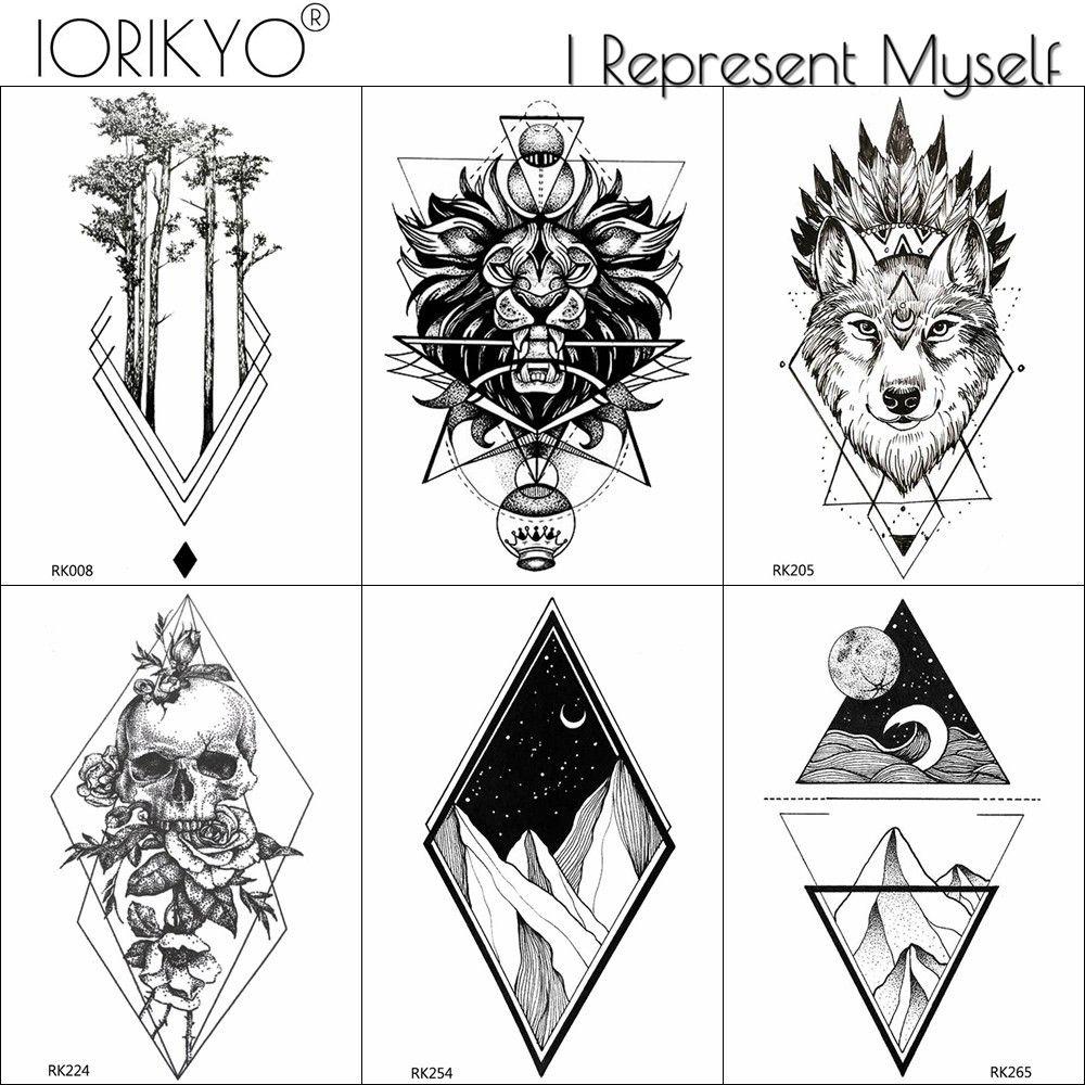 Acheter IORIKYO Transfert Géométrique Lion Tatouages Autocollants Hommes  Crâne Bras Tatouage Temporaire Femmes Tatouage Montagne Triangle Noir