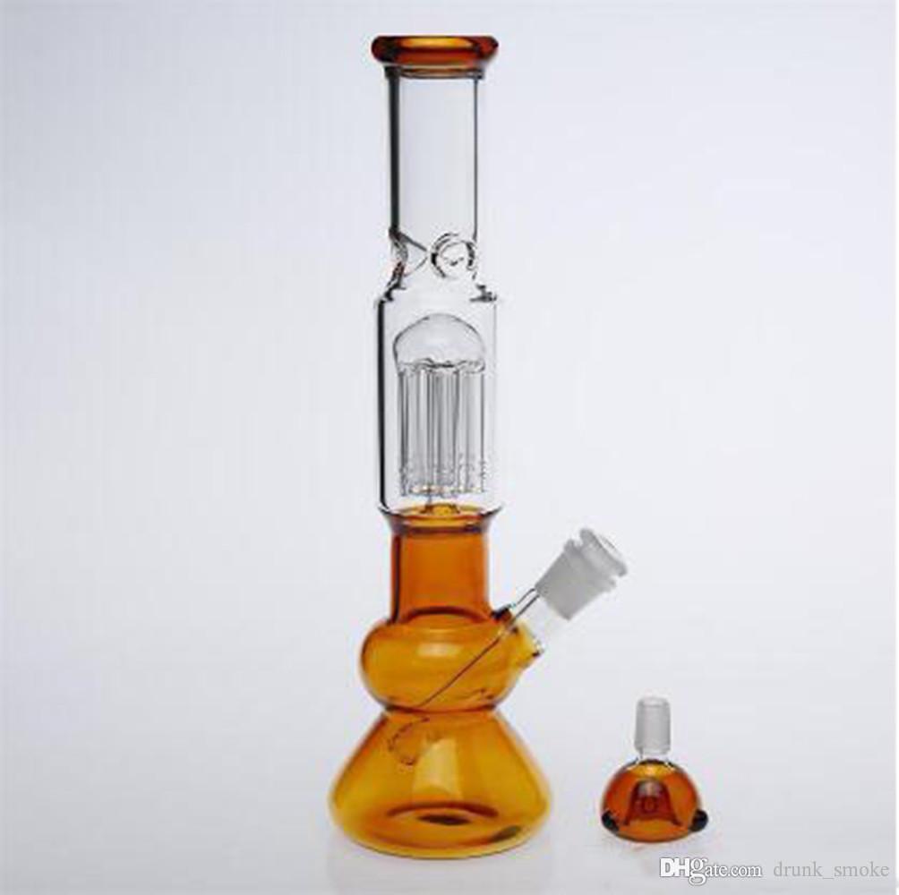 Becherglaspfeife mit Grace Design geraden Rohr qround Glas Wasser Bong kühlen Blick gelb Wasserrohr Glas hookahs