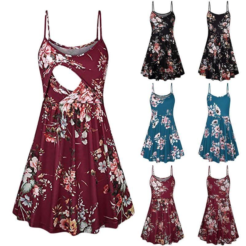 Mujeres que amamantan Impreso honda falda de maternidad lactancia materna La lactancia Embarazo del verano vestido de maternidad vestido de embarazada