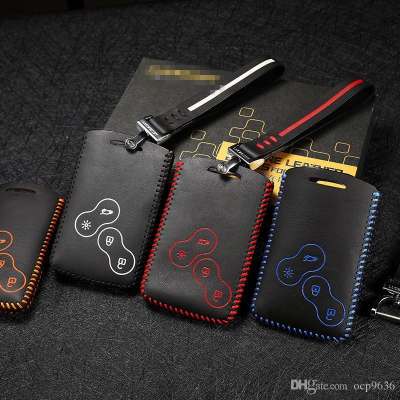car styling For Renault Koleos 2012 Captur 2015 2016 2018 Brand New High Quality leather remote key Case Cover Holder car accessories
