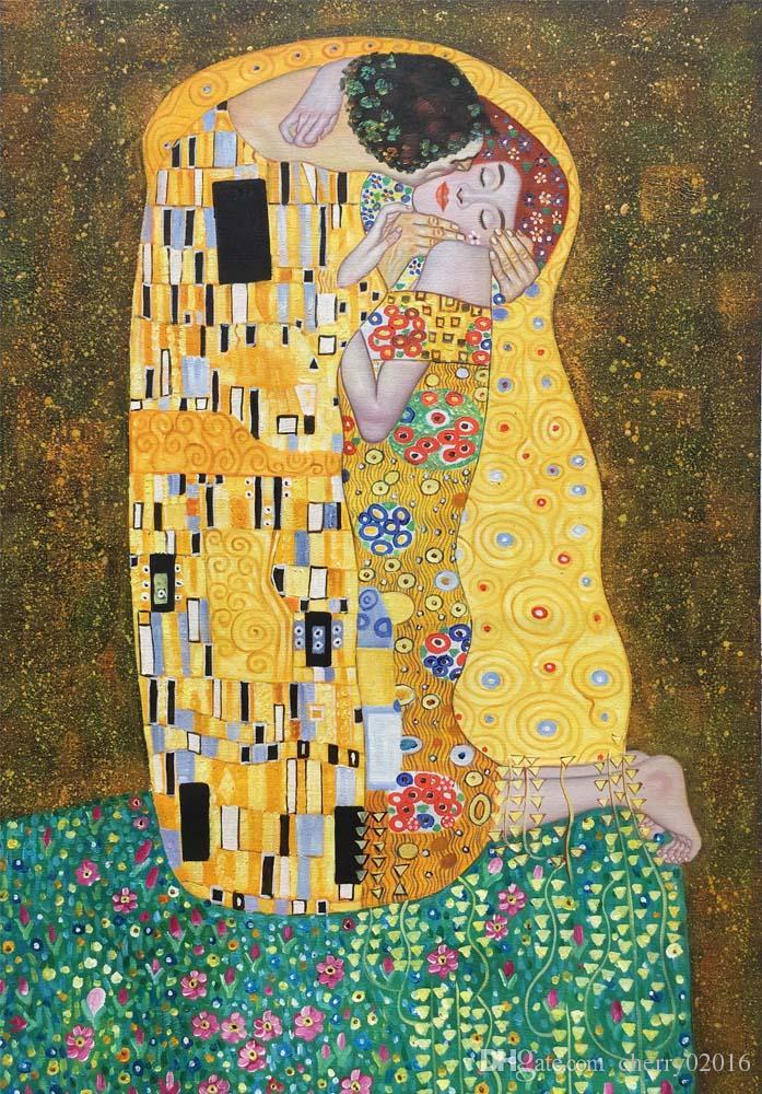 """Картина Густава Климта """"Поцелуй"""", масло, репродукция Ручная роспись на холсте, романтический любовник, картина для декора стен"""