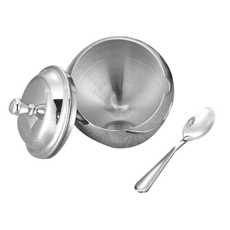 Sugar Bowl, aço inoxidável Sugar Bowl com tampa de abertura oblíqua e colher, Para Casa e Cozinha