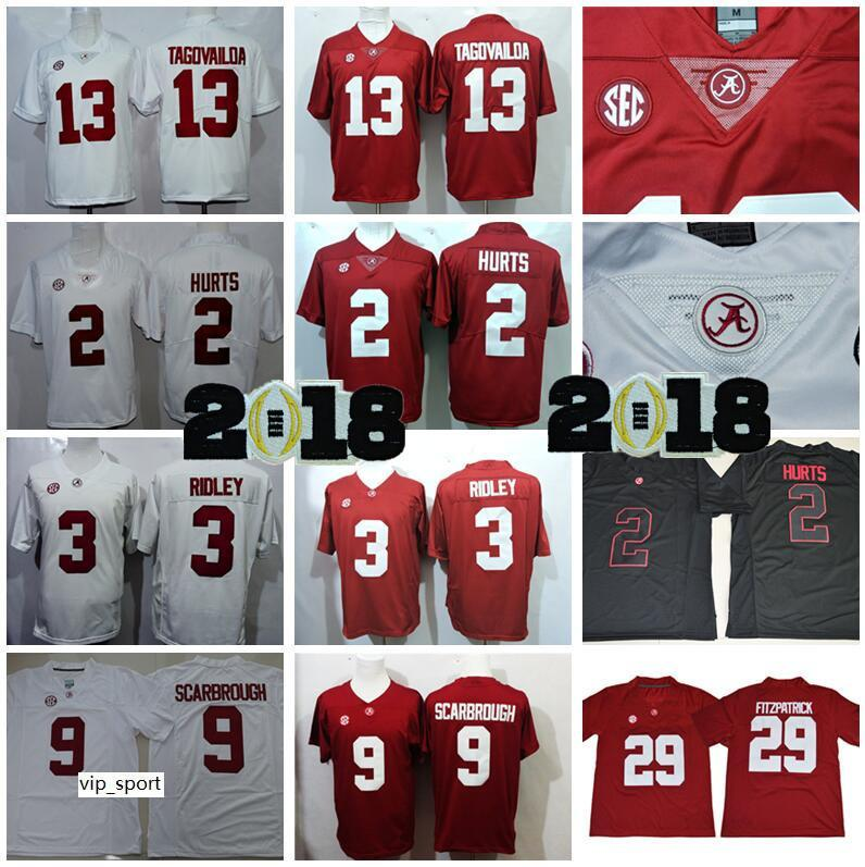 NCAA College Football Alabama Crimson Tua Tua Tagovailoa Jersey 2 Jalen Hurts 3 Ridley 9 Bo Scarbrough 29 Minkah Fitzpatrick Red