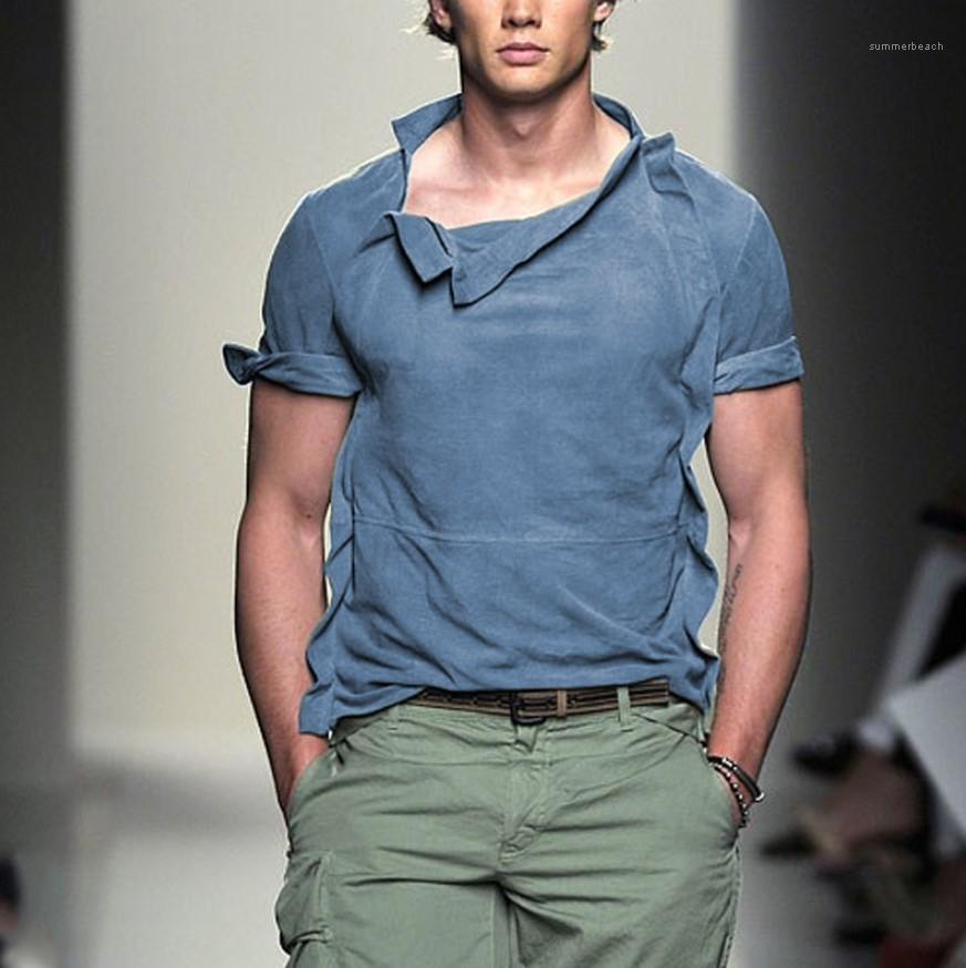 Mens progettista magliette colore solido di modo allentato asimmetrico magliette Mens casuale colpo manica Top Relaxed Vintage