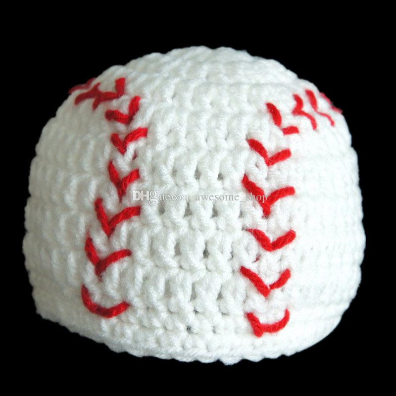 Adorable Baseball Hat,Handmade Knit Crochet Baby Boy Girl Softball Beanie,Sports Hat,Infant Newborn Photo Prop