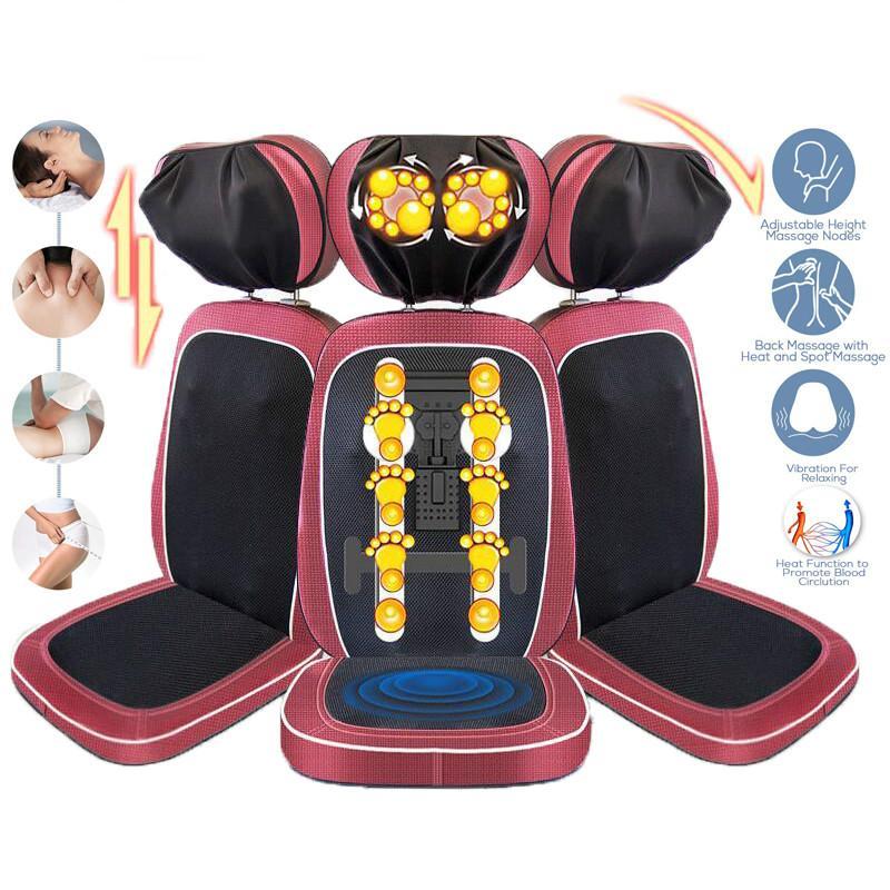 Массажная подушка для сидения, шиацу, шея, плечо, массажер для спины, подушка с электрическим подогревом, разминание, инфракрасная физическая терапия