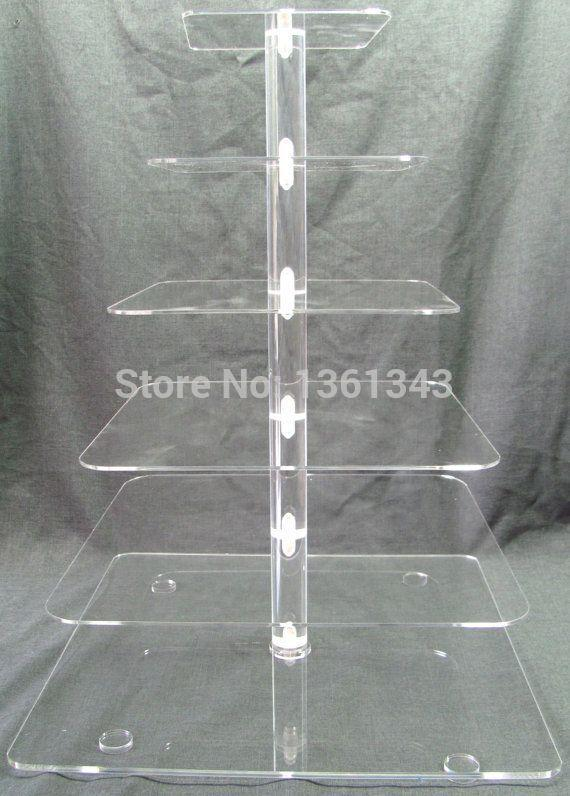 Sable Cheapest !Square Clear 6 Tier Acrylic Wedding Cake Stand Cupcake Display Stand For Birthday Party decoration