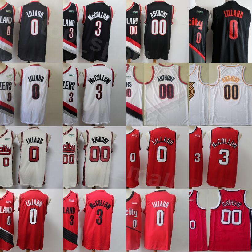 Hombres Chepa Carmelo Anthony Jersey 00 Baloncesto Damian Lillard 0 CJ McCollum 3 Rojo Negro Blanco Equipo Color Sticido Top Timbre