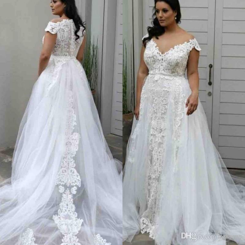 Discount 2019 Elegant Off The Shoulder Lace Applqiues Wedding Dresses Plus  Size A Line Wedding Gowns Court Train Bridal Gowns Vestido De Novia Modest  ...