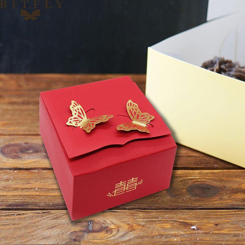 10шт Vintage Свадебных Подарочные коробки сумка золото бабочка конфета Box Red Box Печенье Present Для Китайского стиля свадебных вечеринок