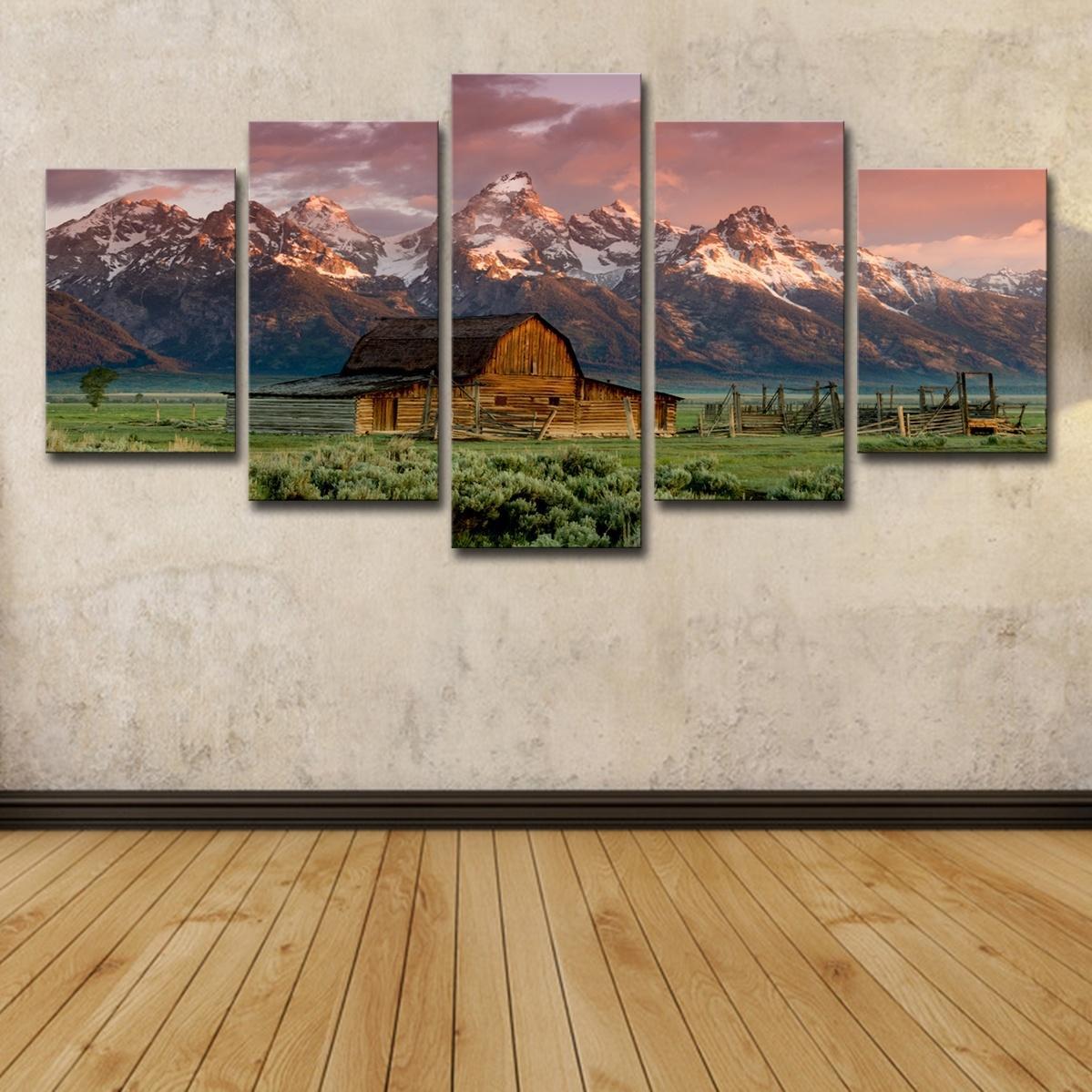 (유일한 캔버스 프레임 없음) 5 개 반 헛간 록키 산맥 오두막 가로 벽 아트 HD 인쇄 캔버스 회화 패션 매달려 사진
