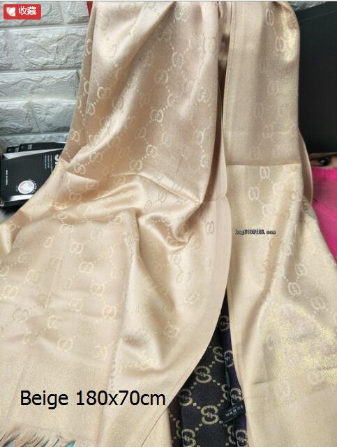 High Quality Celebrity design Letter Embossing Cashmere Cotton gold Thread Scarf Wrap shawl 499130 3G001 5869 Long scarves 180*70CM beige