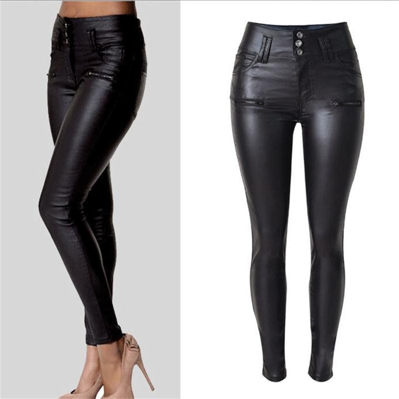 2019 mulheres de design New inverno senhoras elegantes moda em couro PU Leggings selvagem slim calças lápis calças pés de couro marca vestir Y200114
