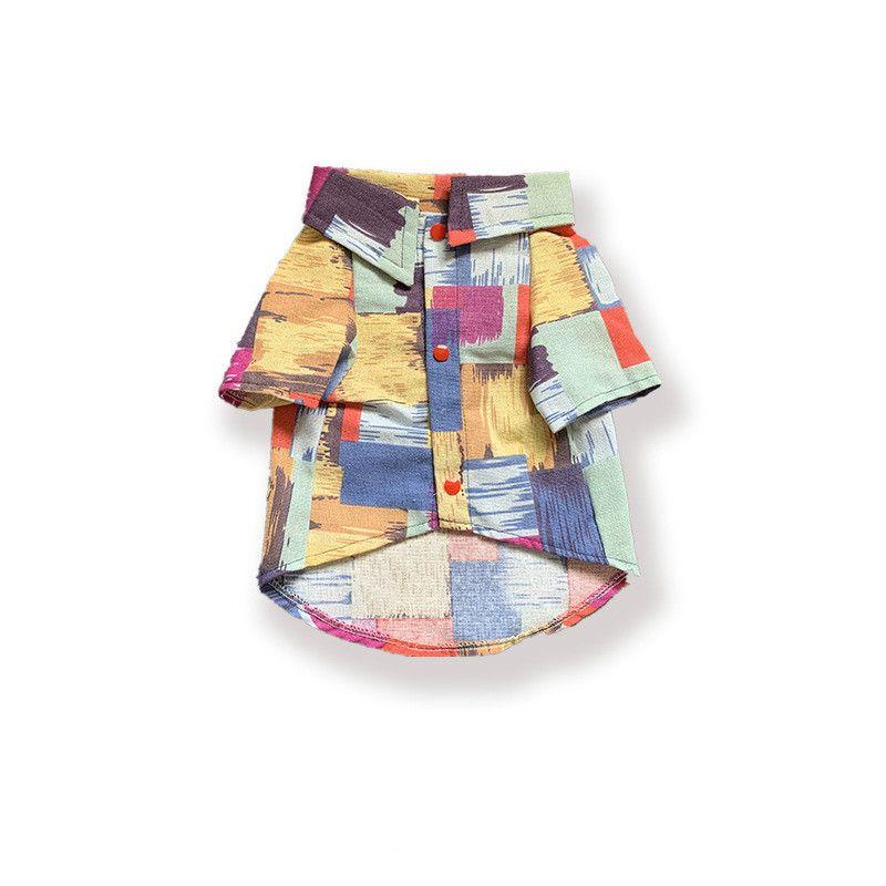 shirt de bonbons col patchwork couleur design peinture brosse usine vêtements pour animaux directe beaux vêtements chats animaux et les chiens patch chemise