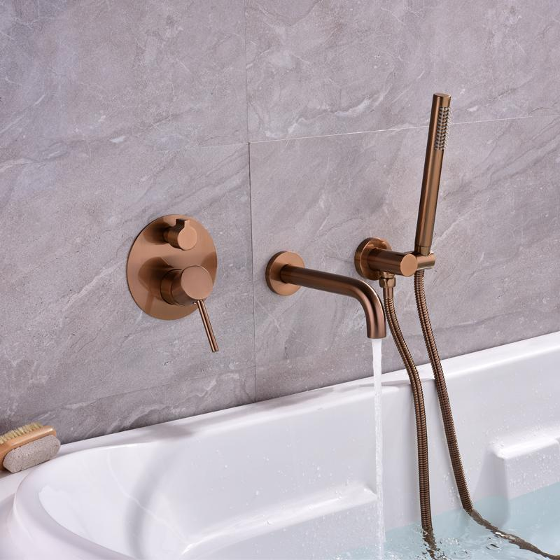 2021 Bathtub Faucets Wall Mounted Brushed Gold Shower Set Cold 2function Mixer Rose Bathroom Faucet Bath Spout From Starch 152 31 Dhgate Com