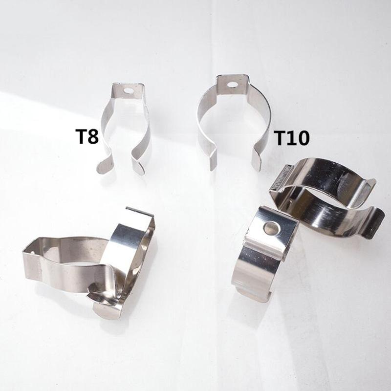 T8 T10 LED Tube Clamps Light Pipes Fasteners Metal Stainless Steel Lamp Clips U Shape Clip Accessories