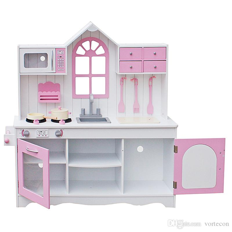 Newest Christmas gifts Assemble DIY Doll House Toy Wooden Miniatura Doll Houses Kids Wood Kitchen Toy Cooking Pretend Play Set