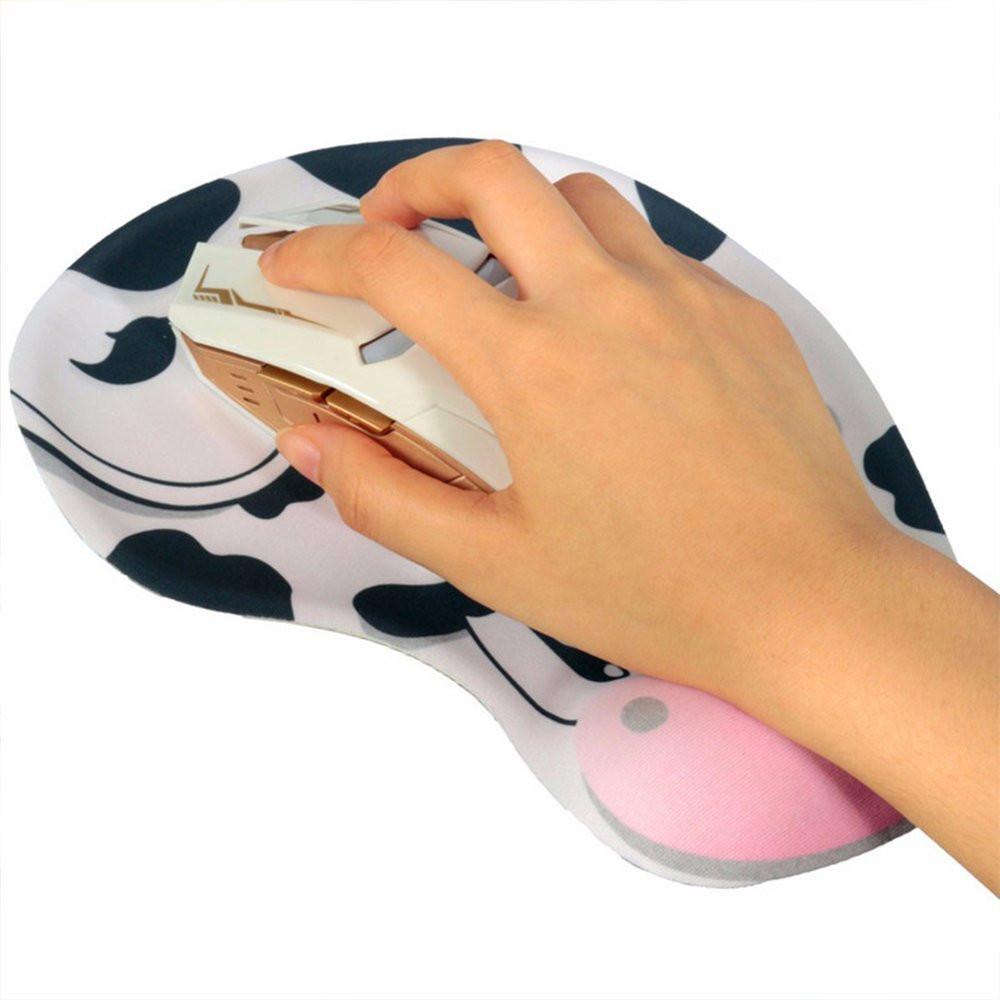 Spiel Maus Pat Silikon Weiß Nette Kuh Mauspad mit Handgelenkstütze Support Matte für Gaming PC Laptop