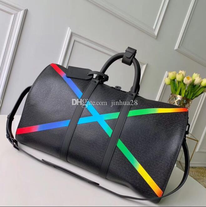 50cm saco Taiga Qualidade Mens Designer New Leather Bag Men Totes Totéis Top Keepall Rainbow Bandouliere Estilo Bagagem Bolsa Duffle Hnkia