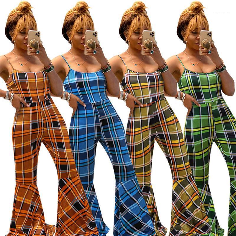 Bügel-dünne Schlaghose Strampler 20ss neue Frauen-Sommer-Kleidung Frauen Plaid Designer Jumpsuits Mode Spaghetti