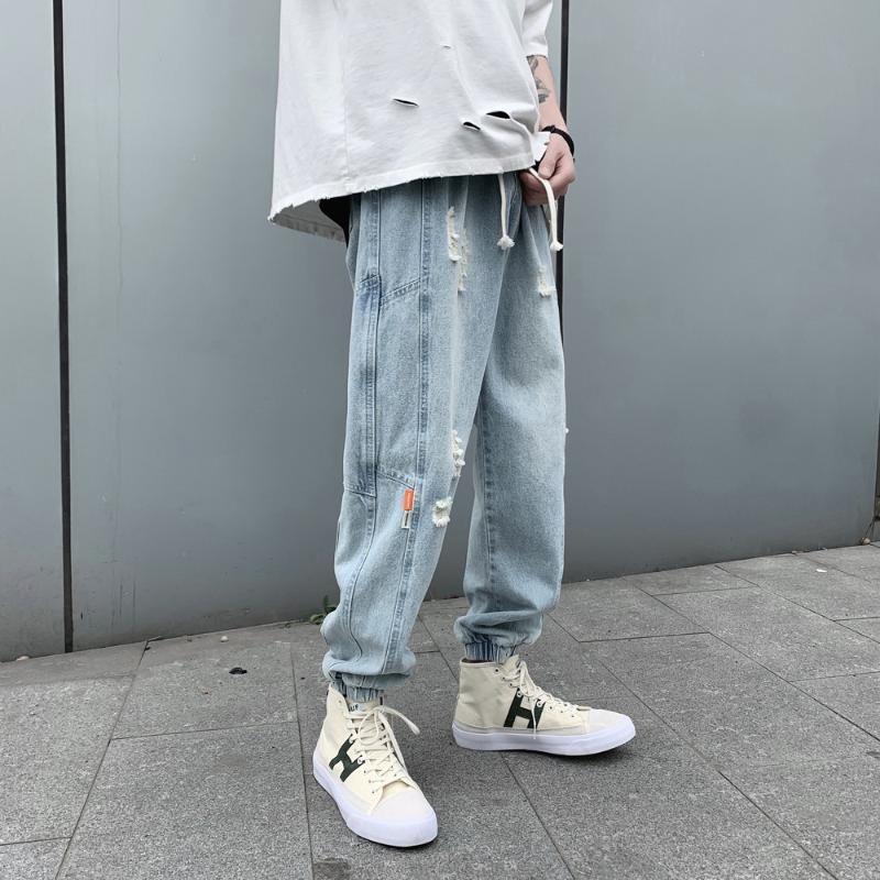 Мужские джинсы 2021 летние растягивающие стройные подходят тощие отверстия классический стиль светло-голубой цветные повседневные брюки байкер джинсовые брюки M-2XL