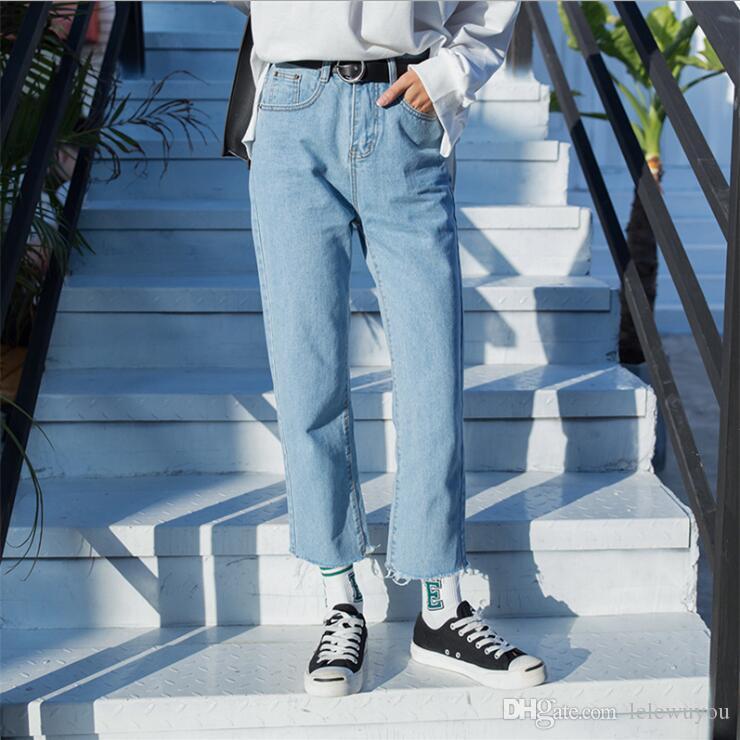도매 스트레이트 튜브 느슨한 구점 한국어 높은 허리 다리 바지 BF 스타일의 빛이 색상 구 포인트 캐주얼 머리가 대체
