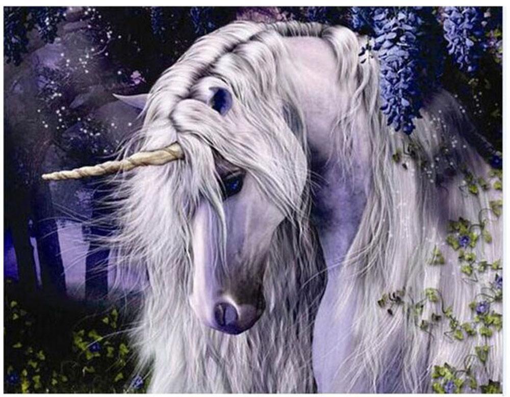 "Kit Vernice pittura diy dai numeri dipinti a mano per adulti pittura ad olio-Moonlight Unicorn 16 ""x20"""