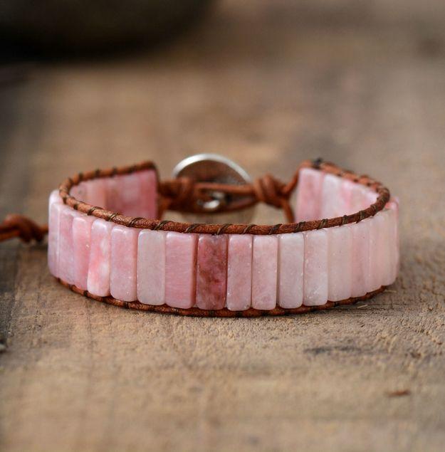 Women Bracelet Jewelry Natural Pink Opal Stone Tube Beads Leather Wrap Bracelet Girlfriend Gifts